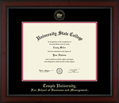 Temple University Fox School of Business and Management - Officially Licensed - Gold Embossed Diploma Frame - Diploma Size 14