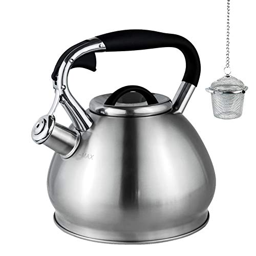 Whistling Tea Kettles Stovetop with Boils Faster Bottom,Surgical Brushed Stainless Steel Finish Whistling Teapot, 3 Quart,Tea Maker Infuser Included by Kmatee