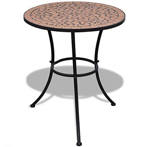 Terra Cotta Bistro Table - Galapara Mosaic Bistro Table,Outdoor Garden Dining Patio Cafe Side Ceramic Terracotta 23.6