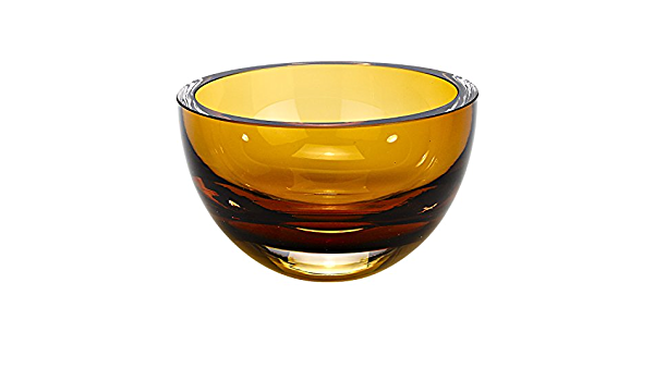 Amazon Com World Gifts 6 Inch Amber Colored Mouth Blown European Lead Free Crystal Bowl Home Kitchen