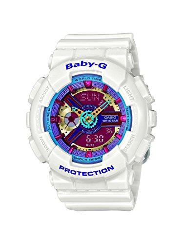 Casio Women's Baby G Quartz 100M WR Shock Resistant Resin Color: White with Multi Color Face (Model BA-112-7ACR)