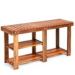 Entryway Giantex 2-Tier Shoe Bench Entryway Shoe Rack with Seat, Wood Organizer for Hallway, Bathroom, Living Room, Corridor…