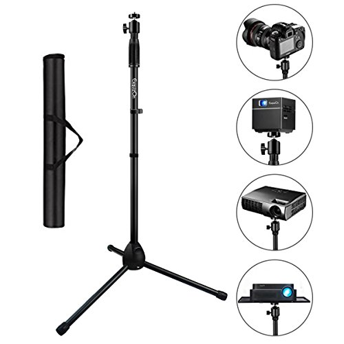 ExquizOn Tripod Stand Portable 180°Rotation Height Adjustable from 29.5 to 55.1, Tripod Stand for Projector Digital Cameras Camcorders SLRs with Carry Bag (V2)