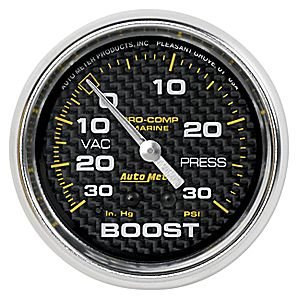 AutoMeter 200775-40 Marine Mechanical Vacuum/Boost Gauge 2-5/8 in. Carbon Fiber Dial Face Silver Pointer White Incandescent Lighting Mechanical 30 IN HG/20 PSI Marine Mechanical Vacuum/Boost Gauge Carbon Fiber Mechanical Boost