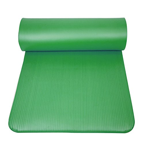 PROMIC 1/2-Inch Extra Thick High Density Anti-Tear NBR Deluxe Yoga and Pilates Mat with Comfort Foam and Carrying Strap ,Green