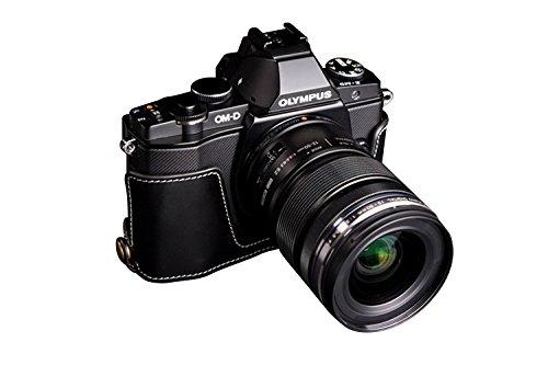 TP OLYMPUS オリンパス OM-D E-M5 (EM5)用本革カメラケース(電池,SDカード交換可) ブラック  カメラケース&ストラップTP1881 B01K4LBP58