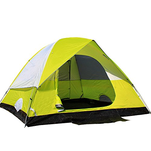 STAR HOME 3 Season Family Tent Camping Backpacking Tents 4 Person Hiking Tents Color Green