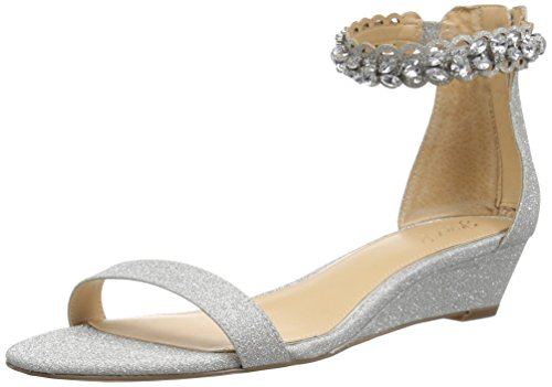 Badgley Mischka Jewel Women's Ginger Wedge Sandal, Silver, 9