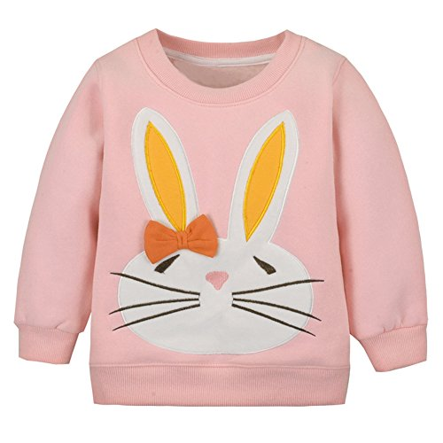 LOSORN ZPY Baby Toddler Girl Christmas Sweater Cotton Pullover Sweatshirt Pink Bunny 3T