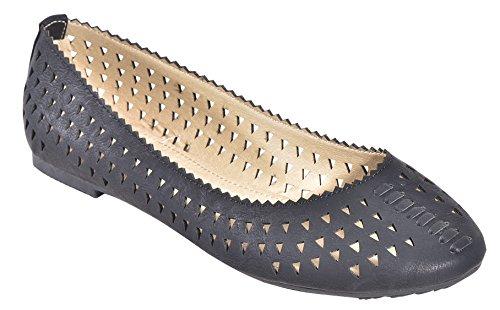 Nouvelles Femmes Casual Slip Sur Les Appartements Bout Rond Ballerines Chaussures Confort Noir * Belle