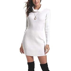 Aibrou Robe Pull Femme Col Roulé Robe Tricot Femme Hiver à Manches Longues au Crayon Robe Mi-Longue en Maille Elegant…