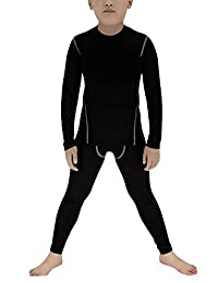LANBAOSI Boys & Girls Compression Shirts Pants Long Sleeve 2 Pcs Set