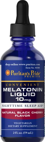 Puritan's Pride Melatonin Black Cherry Liquid 10 mg-2 oz Liq