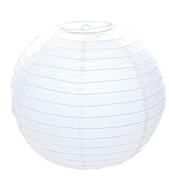 Pantalla para lámpara de papel redondo de bambú, 30 cm, color blanco