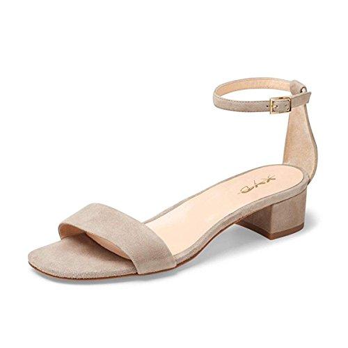 Ankle Pumps Low Wedding Dress Women Strappy Toe Block Strap Sandal Heel XYD Nude Shoes Open IzqUwq8
