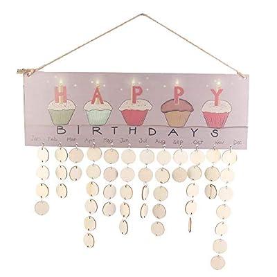 Yosooo Family Calendar Board,Birthday Reminder DIY Decor Sign Wall Hanging Sign Board for Friends/Classroom