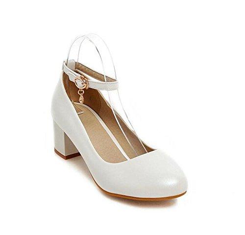 WHITE La Otoño Gruesos los Las Zapatos Mujeres 38 Dulces del Redondo Superficiales del Dedo Zapatos Primavera y 38 cortan del White Talón el con pie los XIE de FAqIdq