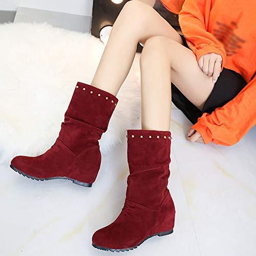 Confort Rivets Faux Suede Chaussure Bottines Vente Chaussures Rouge Mesdames Cushion Walk Chaud Sude Casual qYpzPtawx