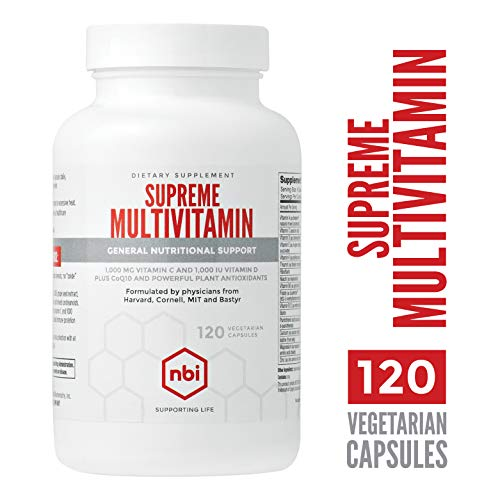 - NBI Supreme Multivitamin, Daily Supplement for Adults | General Nutritional Support, Vitamin D, Vitamin C, Vitamin B, Amino Acid Minerals & Plant Antioxidents | 120 Vegetarian Capsules Per Bottle