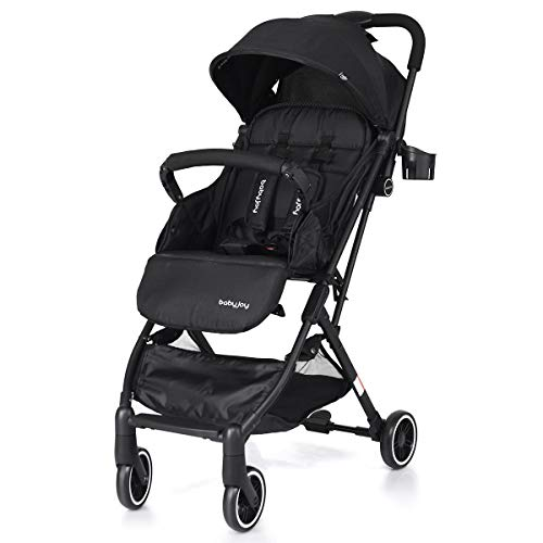Babyjoy Baby Stroller Pram Baby Carriage for Outsides, Lightweight Stroller with 5-Point Safety System and Multi-Position Reclining Seat, Extended Canopy, Easy One Hand Fold (Black)