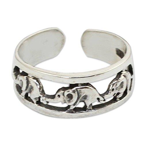 NOVICA .925 Sterling Silver Animal Themed Adjustable Toe Ring