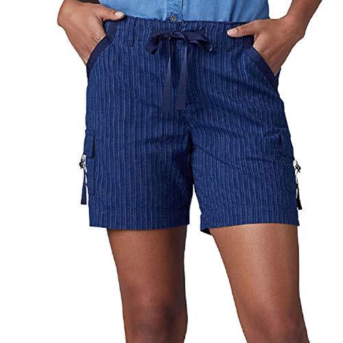 LEE Women's Regular Fit Drawstring D-Ring Cargo Short (14, Indigo Stripe)