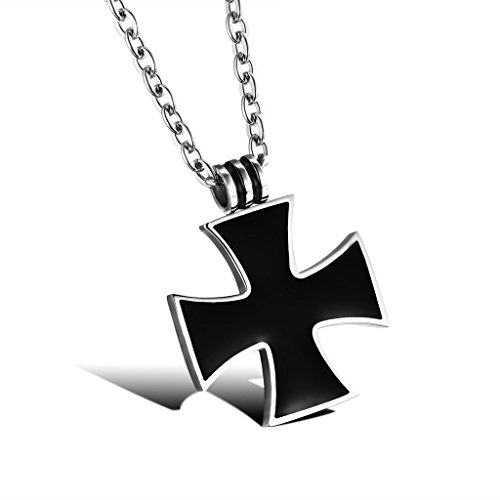 JSEA Stainless Steel Black Iron Cross Pendant Necklace Womens Mens
