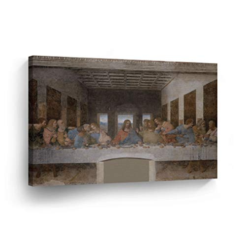 (The Last Supper Wall Art by Leonardo Da Vinci Canvas Wall Art Canvas Print Famous Art Painting Reproduction Fine Art Wall Mural Painting Home Decor Stretched Ready to Hang-%100 Made in The USA-8x12)