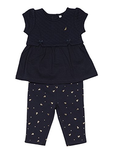 Nautica Baby Girls' Fashion Top With Capri Legging Set,Quilted Navy,24 Months (Toddler Girls Capri Set)