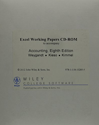 Excel Working Papers CD to accompany Financial Accounting, 8e