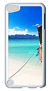 iPod 5 Cases, Anti-Scratch Clear Slim Back Panel [Bend Resistant] with Shock Absorbent Bumper Protection Hard Boat On The Beach White Case For Apple iPod Touch 5Gen Generation
