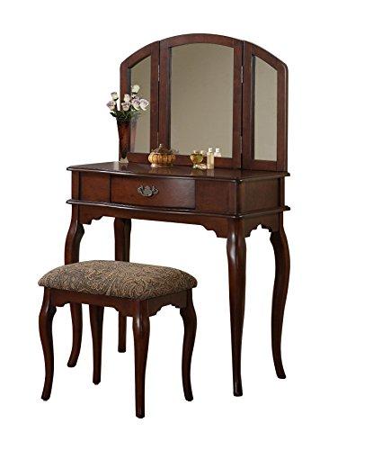 Bobkona Jaden Collection Vanity Set With Stool Cherry