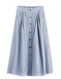 SweatyRocks - Falda de Cintura Alta para Mujer, diseño de Rayas en Forma de A con cinturón