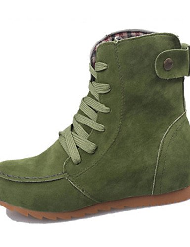 XZZ/ Damen-Stiefel-Outddor / Kleid / Lässig-Kunstleder-Flacher Absatz-Komfort / Armeestiefel / Stifelette / Modische Stiefel / Passende Schuhe khaki-us7.5 / eu38 / uk5.5 / cn38