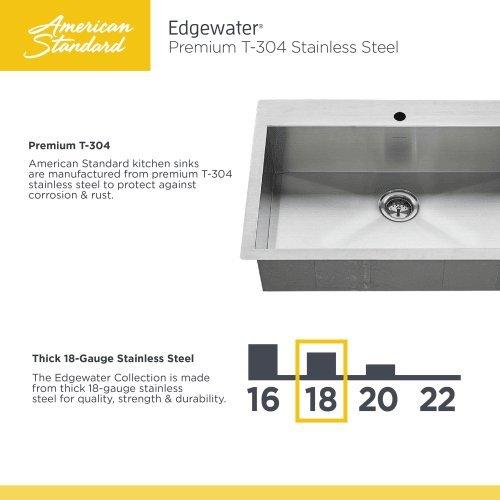 American Standard 18SB.9252211.075 Edgewater Zero Radius Dual Mount 25x22 single Bowlwithgrid & Drain, Stainless Steel by American Standard (Image #4)