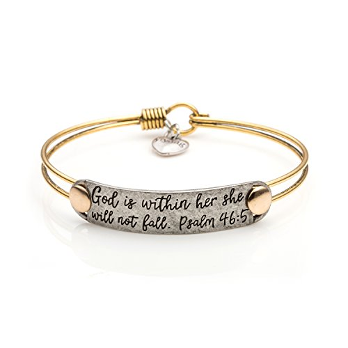UNQJRY Bible Verse Friendship Brave Inspirational Bracelets Vintage Brass Bangle Jewelry Gift for Christian Friends Women Men (God is Within her she Will not Fail)