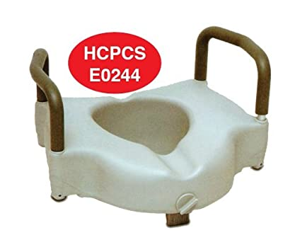Rose HealthCare 1053 Elevated Toilet Seat with Removable Padded Arms Weight Limit, 250 lb.