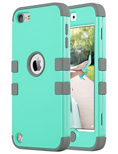 ULAK iPod Touch Case, iPod 5 & 6th Generation Case, Anti Slip Anti-Scratch iPod Touch Case Shockproof Protective Cover with Hybrid High Soft Silicone + Hard PC Case (Mint Gray) (Ipod 5 6th Generation Cases)