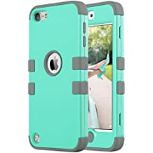 iPod Touch Case, iPod 5 & 6th Generation Case, ULAK Anti Slip Anti-Scratch iPod Touch Case Shockproof Protective Cover with Hybrid High Soft Silicone + Hard PC Case (Aqua Mint/Grey)