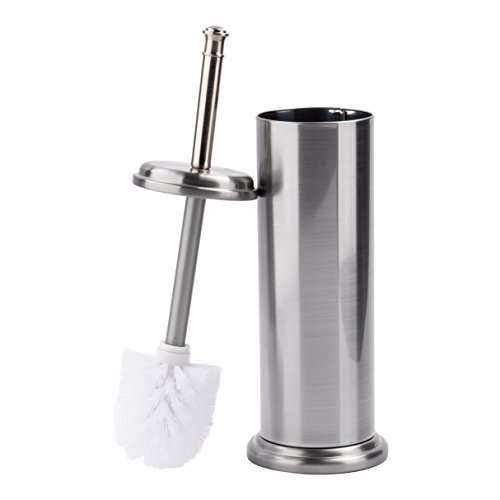 Discreet Toilet Brush and Metal Canister Holder by MAYA | Built In Splash Guard, Tapered Head, Compact and Elegant Design For Small Bathroom Spaces, Matches Your Bath Accessories, Brushed ()