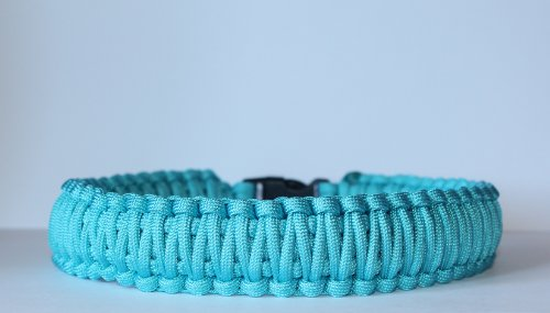"""SENC 550 Paracord Dog Collar with Side Release Buckle - Turquoise (10"""" - (Buckle tip to Buckle tip))"""