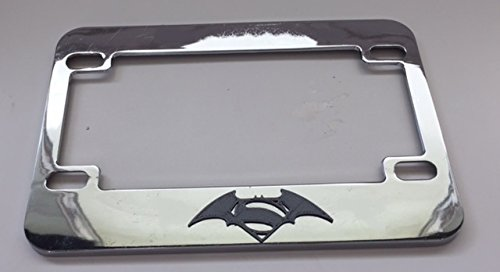 (Superman Meets Batman Hybrid - Chrome with Grey 3d Version Motorcycle / Scooter License Plate Frame - Love Dogs Pit Bull)