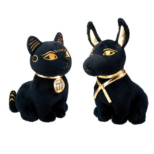 Bundle Deal.Large Size Egyptian Plush Black & Golden Bastet Cat & Anubis Stuffed Animal.Soft (Plush Egyptian Toy)