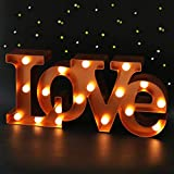 Bright Zeal 16' x 7' Large Love Signs Decor for Bedroom LED Marquee Letter Lights (Bronze) - Large Light Up Love Sign for Wedding Table Decor - Wedding Signs for Ceremony and Reception with Stand
