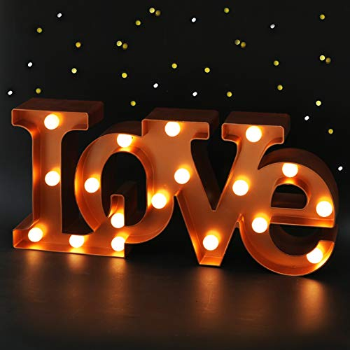 Bright Zeal 16 x 7 Large LOVE Signs Decor For Bedroom LED Marquee Letter Lights (BRONZE) - Large Light Up LOVE Sign For Wedding Table Decor - Wedding Signs For Ceremony And Reception With Stand