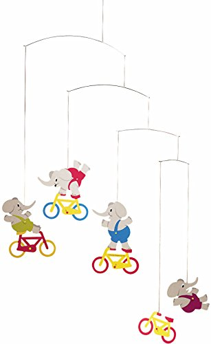 Flensted Mobiles Cyclephants Hanging Nursery Mobile - 24 Inches (Hanging Paper Mobile)