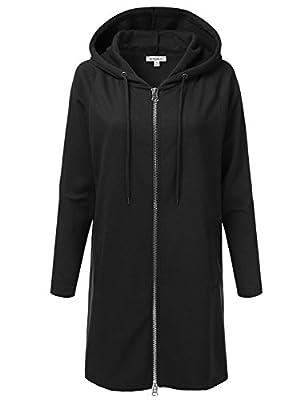 Doublju Oversized Longline Zip-Up Hoodie Jacket For Women For Women