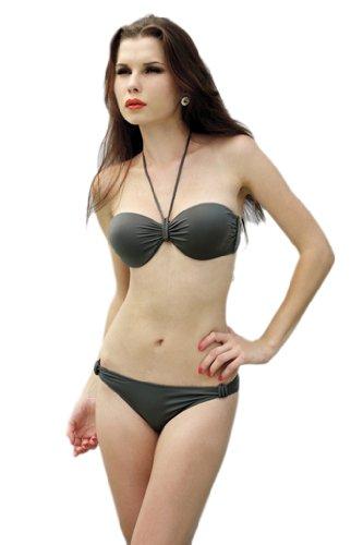 Alivila. Y Fashion Sexy acolchado Halter Bikini Swimwear 152009 Ejercito Verde
