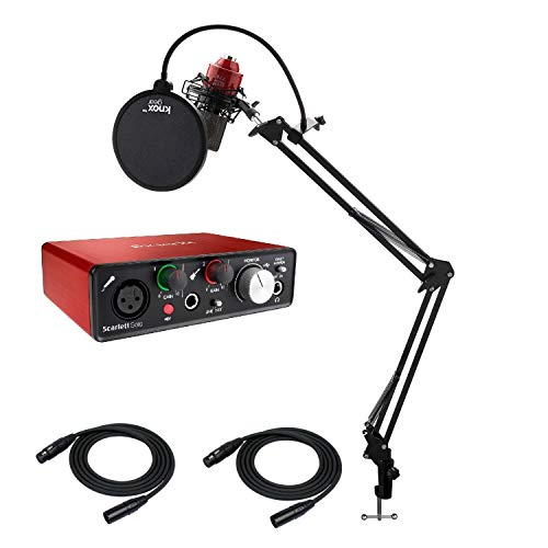 Focusrite Scarlett 2I2-2ND USB Audio Interface (2nd Gen) with MXL 770 Cardioid Condenser Microphone, Knox Studio Stand and 2 XLR Cables