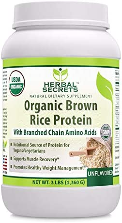 Herbal Secrets Organic Brown Rice Protein Powder – 3 lbs Non-GMO Unflavored- Supports Muscle Recovery, Promotes Healthy Weight Management*